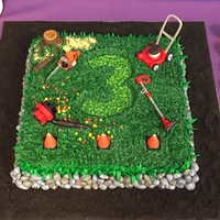Landscaping Tools Birthday Cake This is the cake that I made for my son's 3rd birthday. He wanted a lawn mower/landscaper theme. The cake is covered in buttercream...