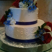 Red White And Blue Anniverasry Cake