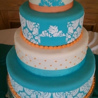 Malibu Blue And Orange Damask Cake