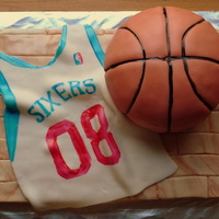 Basketball Birthday Cake  Basketball jersey and ball birthday cake. Parquet floor done with mmf strips then glazed with corn syrup and vodka mix brushed on to look...