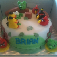 Angry Bird Cake Chocolate sponge with chocolate butter cream all the decorations are made from fondant icing