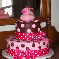 Nikita's Baby Shower I made this cake for my Niece's baby shower. The bottom tier was chocolate, the top tier vanilla. They were alternately iced in...