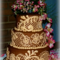 Lacey And Evan Wedding Cake Lacey had a wedding true to her name. Victorian themed, complete with lace up lace covered boots, bridesmaids carrying lace parasols...it...