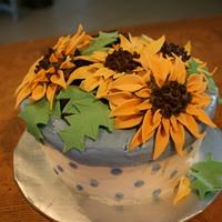 "Breanna's 19Th Birthday Sunflower Cake My friends daughter loves sunflowers. For her 19th birthday I was given ""free reign"" on making this cake with any sort of..."