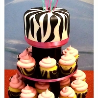 Pink And Zebra Stripes My daughters 8th bday cake and cupcakes!