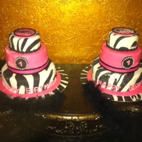 Zebra Birthday Cake Both cakes are frosted with BC, covered with fondant with gum paste embellishments. Cake were made for identical twin's for their...