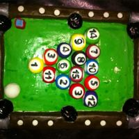 Pool Table Cake *Multi layer cake carved, frosted with BC, covered with fondant. Pool balls are made of fondant and gum paste.
