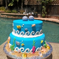 Under The Sea All decorations made from fondant except sugar seashells.