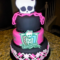 Monster High Birthday cake for a little girl turning 8. 10, 8, 6; chocolate, strawberry, vanilla.