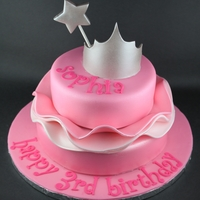 Pink Princess Ruffle Cake 2 tier shimmery pink cake separated with ombre ruffles topped with a gumpaste tiara and wand.