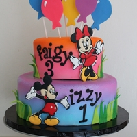 Mickey And Minnie Cake I was asked to feature Mickey and Minnie but not to make the cake themed. Just to keep it bright for summer