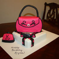 Purse Cake This is my 8th fondant cake. Also the first time trying to make anything other than a circle or rectangle cake. It was made for my friend&#...