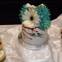 A Cake And Cupcakes For My Wifes Cousins Wedding The Design On The Cake Is Hand Painted Onto The Fondant   A cake and cupcakes for my wife's cousin's wedding. The design on the cake is hand painted onto the fondant.