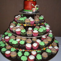 Tree Bark Wedding Cake And Cupcakes For a wedding held at a ranch, so the cake airbrushed to look like tree bark was appropriate, and 150 cupcakes in 3 flavors: chocolate with...