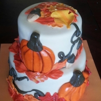 "Autumn  Triple Chocolate cake with chocolate buttercream. 8"" and 6"" tiers. Made for a local block party with an autumn theme. I was..."
