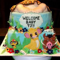 2 Tier Simba Lion King Baby Shower Cake With Baby Butt1