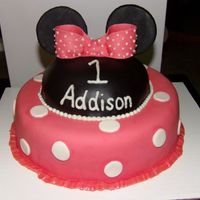 Minnie Mouse Head And Ears With Polka Dot Dress On Bottom Tier
