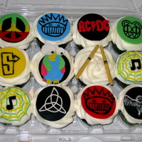 Band Logo Cupcakes Surprise Blue Velvet cupcakes with Cream Cheese frosting. Band logos and images include Bob Marley (Rasta Peace), Ween, Radiohead, AC DC,...