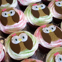 "Look Whoo's Turning 1! ""Look Whoo's Turning 1"" / Owl Themed Red Velvet cupcakes with Cream Cheese frosting."