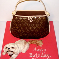 Louis Vuitton Purse Cake Pumpkin Cake with Cream Cheese frosting- the customer wanted a LV purse cake and a gumpaste replica of her dog