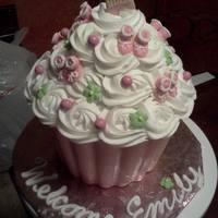 "Baby Shower For Baby Girl The Bottom Is Pink Chocolate With Cake And Icing In The Inside I Use The Giant Cupcake Pan From Wilton  Baby Shower for baby girl. The bottom is pink chocolate with cake and icing in the inside. I use the ""giant cupcake"" pan from..."