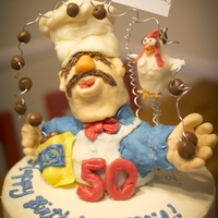 Swedish Chef Birthday Cake  Chef is Rice Krispies Treats inside, with modelling chocolate on the outside. Accents are Starburst candies and Tootsie Rolls. First...