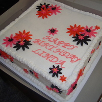 Birthday Cake With Fondant Flowers! this is a double layered chocolate cake with buttercream icing and fondat flowers!