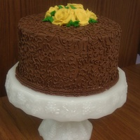 "Cornelli Lace  Here is my first attempt at Cornelli Lace. Yellow 3 layer 8"" cake with Chocolatey Fudge bc, with yellow bc roses. This was for an..."