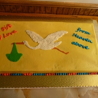 Stork Baby Shower  The mom to be didn't know the baby's sex, so I chose a stork. Lemon cake, lemon bc, single layer. 1/2 sheet plus 9x13 trimmed and...
