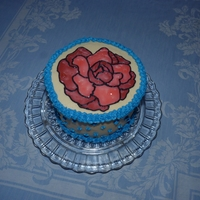Stained Glass Rose My first attempt at stainded glass technique. French vanilla cake torted and raspberry filled. BC with piping gel.