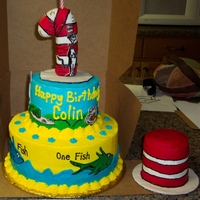 Dr. Suess Cat In The Hat Cake Chocolate top, vanilla bottom, bc icing, fondant decorations. Made the hat topper with RKT.