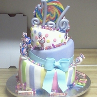 Candy Land Topsy turfy cake white cake with raspberry filling and cotton candy flavor