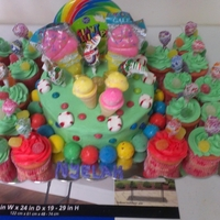"Candyland Cake 8"" cake with butter cream icing and raspberry filling and lots of candy"