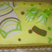 Onesies And Shoes Cake vanilla cake with lime and coconut buttercream with raspberry filling , Onesies and shoes is made with fondant