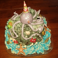 Octopus Birthday Cake made this cake as a surprise birthday gift in only few hours, choc cake with choc and banana filling, covered with homemade sugarpaste and...