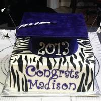High School Graduation Cake-Zebra Print Themed High school graduation cake. Bottom tier iced in buttercream with fondant accents. Grad cap made using Wilton small ball pan, covered in...