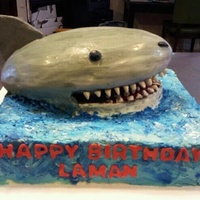 Shark Themed Birthday Cake Shark themed birthday cake