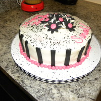 Black White Pink Flowers Raspberry cake with buttercream frosting. Flowers are F/GP. Stripes are black MMF.