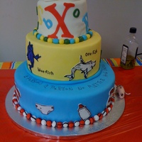 "Dr. Seuss Baby Shower 3 Tier Dr. Seuss baby shower cake for my daughter/ twin boys. 6"", 10"" and 12"" round, double 3"" layers, filled and stacked...."