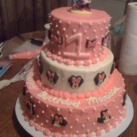 Minnie Mouse 1St Birthday Cake 3 Tier. Minnie Mouse buttercream 3 tier stacked cake.