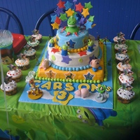 Toy Story 3 Tier (Carson's Cake) Toy Story 3 tier fondant covered with fondant handmade figures. Buzz, Woody and the army guys are plastic toys. The rest are handmade from...