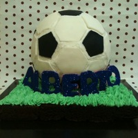 Soccer/ Football Cake My first soccer/ football cake. There are big gaps inbetween the patches on the ball but from a distance it's not too bad!! ;) I know...