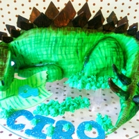 Dinosaur I cut out the shape from a 12inch square. It was a choc sponge with buttercream and nutella.