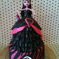 "Monster High Draculaura 1600 Dress Cake I used a 5"", 6"" round cakes plus an extra cupcake for the top of her dress and then a 8"" for the base. It was a chocolate..."