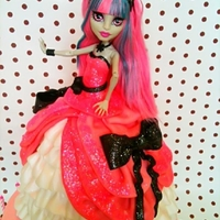 Monster High Rochelle Goyle Doll Cake Monster High again! This time I tried to make swags on her dress using folded ribbons of fondant. I used buttercream to cover the base for...