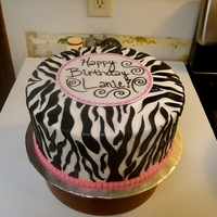 Zebra Birthday Vanilla cake covered in buttercream with fondant zebra print