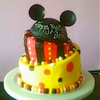 Mickey Mouse Cake   Topsy Turvy cake for a first birthday.