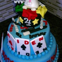 Do U Believe In Magic Two tiered mmf covered cake. Filled with banana cream top and strawberry bottom. Hat is rkt covered in satin ice fondant. Bunny is mmf with...