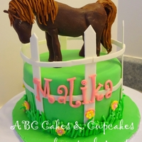 Brown Horse Cake Little girl wanted a cake with a brown horse on it. Horse is made of modeling chocolate.