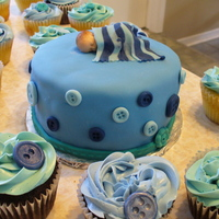 Baby Shower Blue Button Cake And Cupcakes Made this for a friend's sister who is expecting a boy. Chocolate cake with chocolate and vanilla cupcakes. Swiss Meringue buttercream...